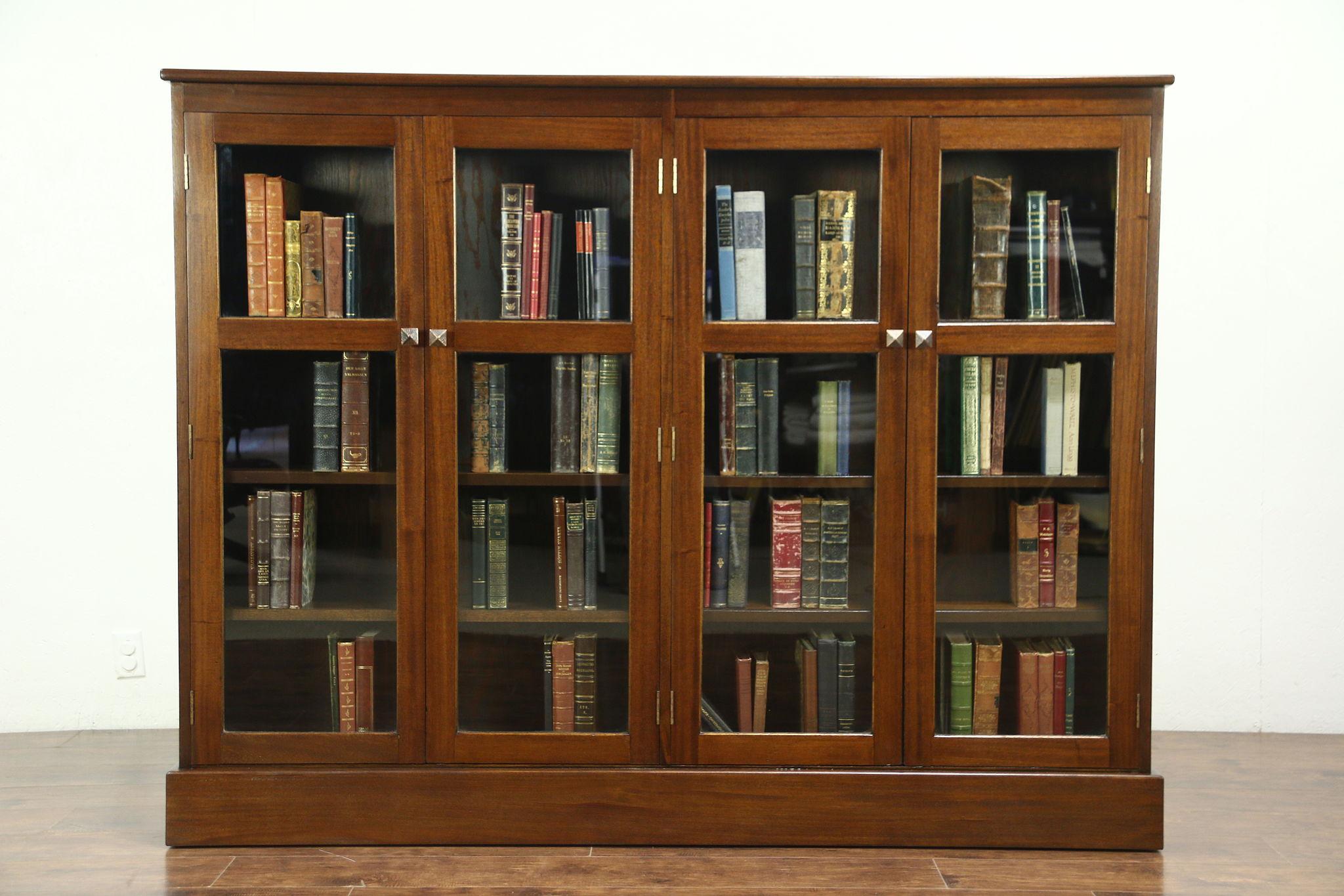 Mahogany 1930 Vintage Library Bookcase 4 Doors Adjustable Shelves