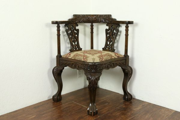Sold - English 1890 Antique Carved Oak Corner Chair Claw