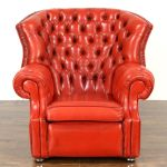 Sold Red Tufted Leather Vintage Scandinavian Traditional Wing Chair Harp Gallery Antiques Furniture