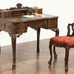 Sold French Style Antique Carved Writing Desk Chair Set New Upholstery Harp Gallery Antiques Furniture