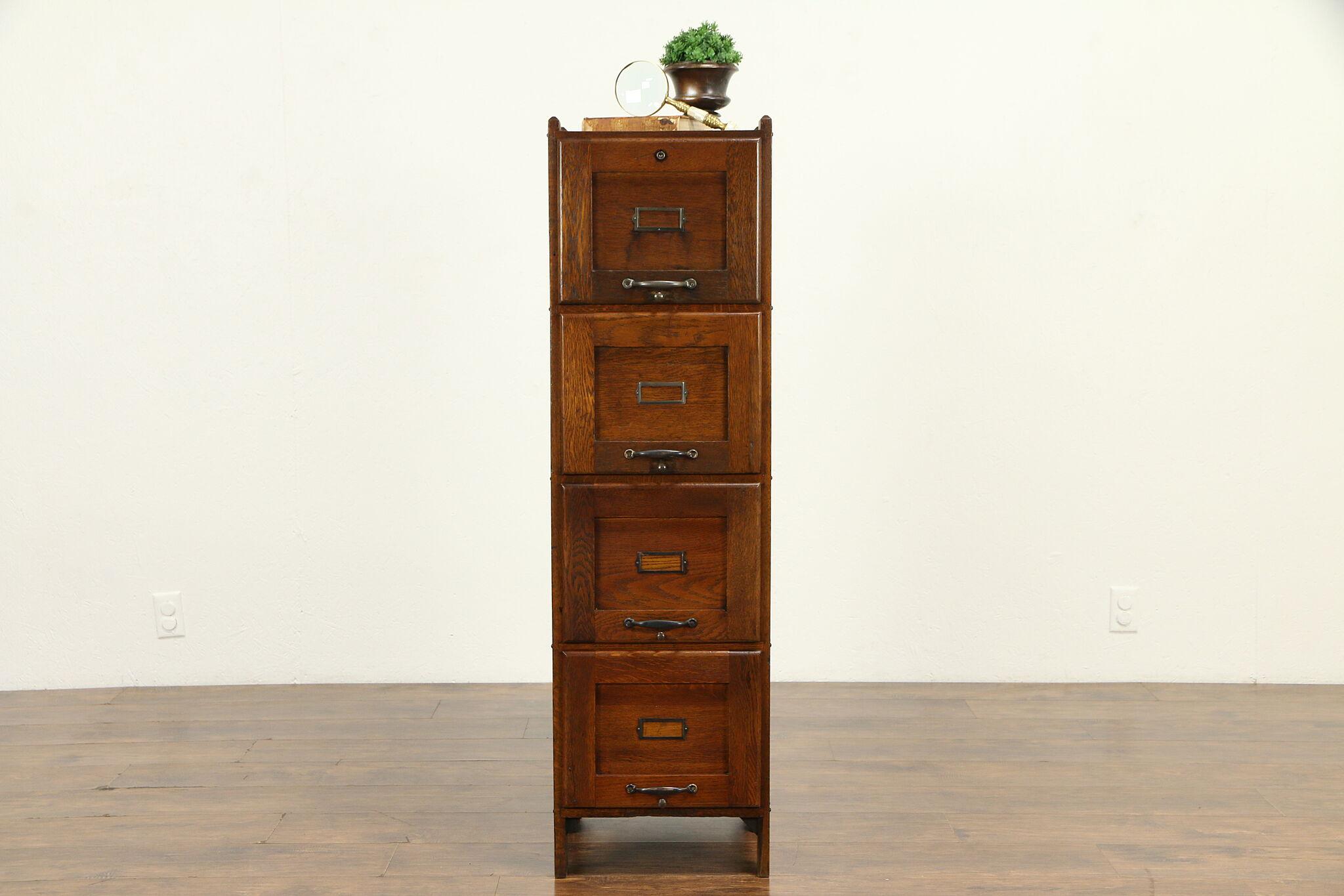 Sold Mission Oak Arts Crafts 4 Drawer Antique 1910 Craftsman File Cabinet 32059 Harp Gallery Antiques Furniture