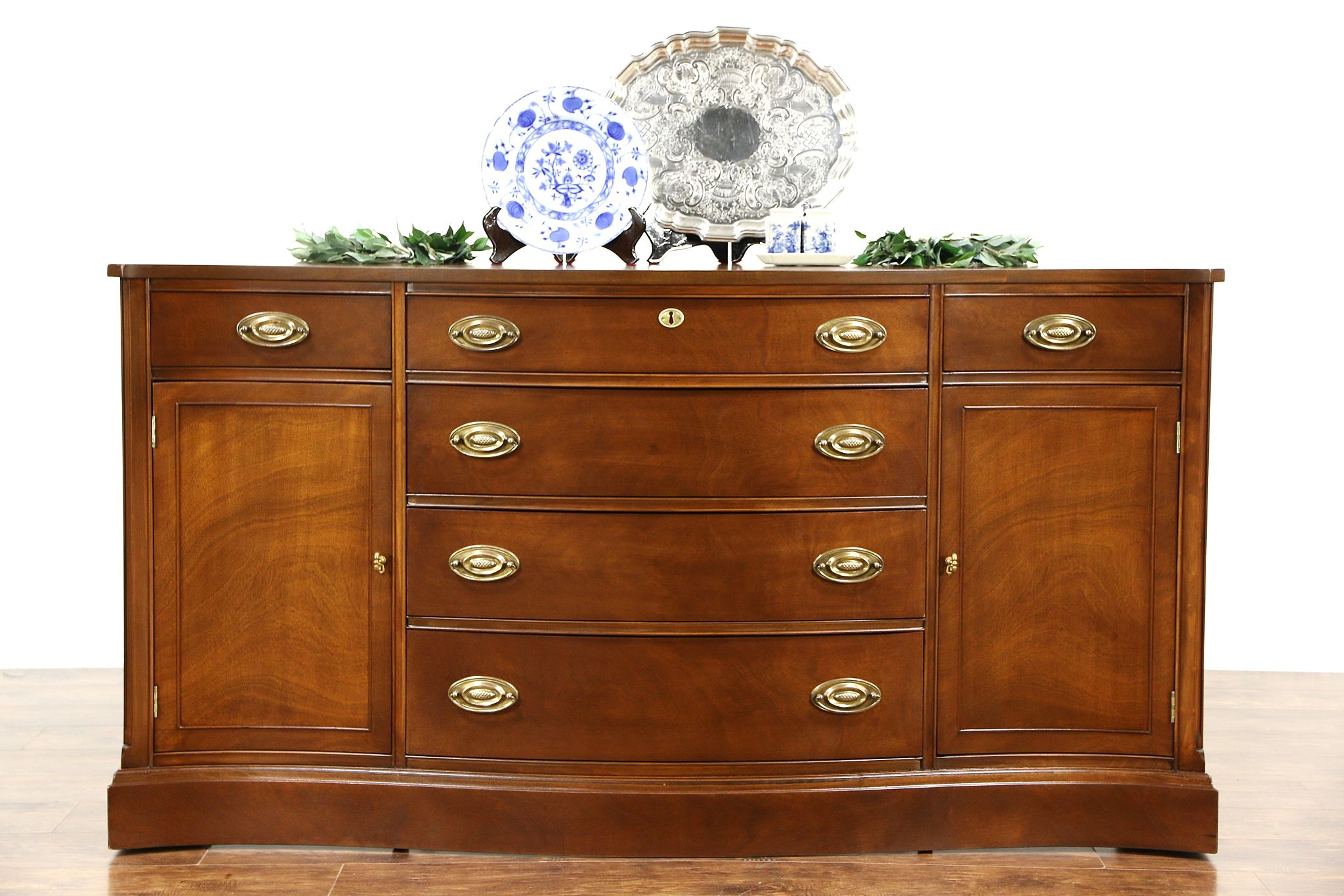Sold Traditional Vintage Mahogany Sideboard Server Or Buffet Serpentine Front Harp Gallery Antiques Furniture