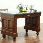 Sold Cherry Vintage Bank Counter Kitchen Island Or Wine Tasting Table Marble Top Harp Gallery Antiques Furniture