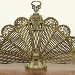 Sold Brass Peacock Fan Vintage Fireplace Screen With Face 29526 Harp Gallery Antiques Furniture