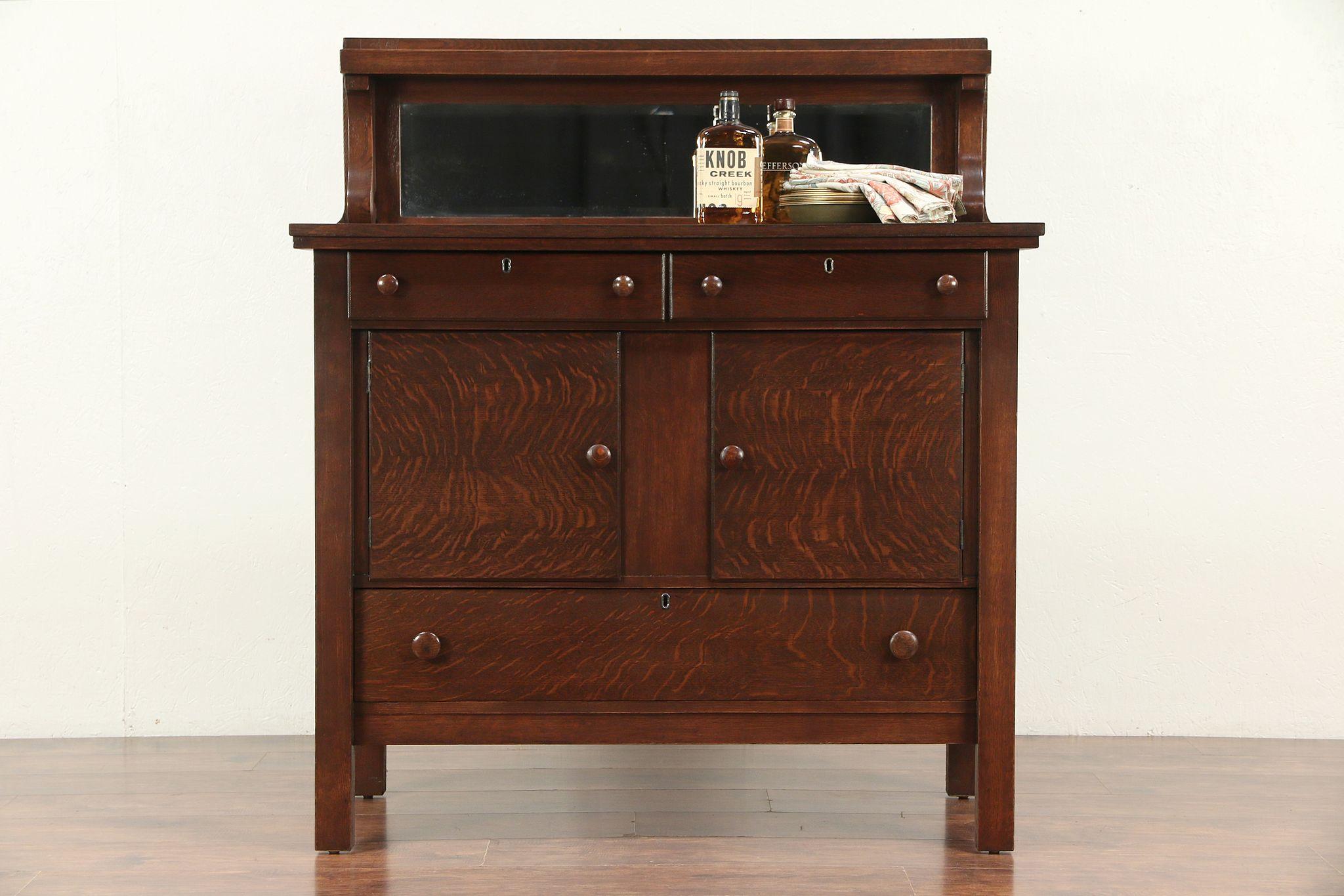 Sold Oak Antique Craftsman Sideboard Server Or Buffet Beveled Mirror 29698 Harp Gallery Antiques Furniture