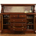 Sold Oak Antique Sideboard Server Or Buffet Original Beveled Mirror 32175 Harp Gallery Antiques Furniture