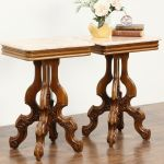 Sold Pair Victorian Style Vintage Marble Top Carved Walnut End Tables Harp Gallery Antiques Furniture