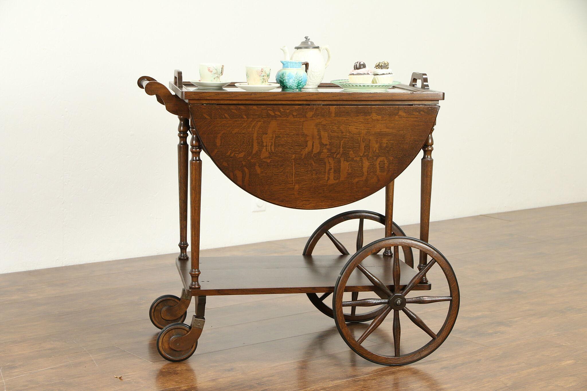 oak antique bar cart