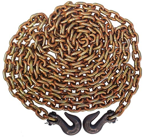 Grade 70 3/8 Inch x 20' chain with clevis hooks-0