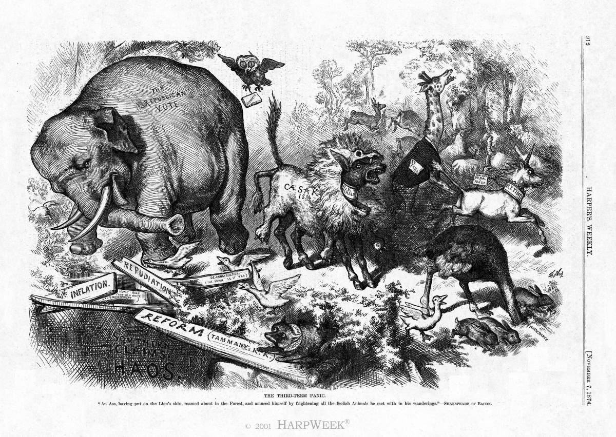 Thomas Nast carton that first used an elephant for Republican Party, Harpers Weekly, Nov. 7, 1874