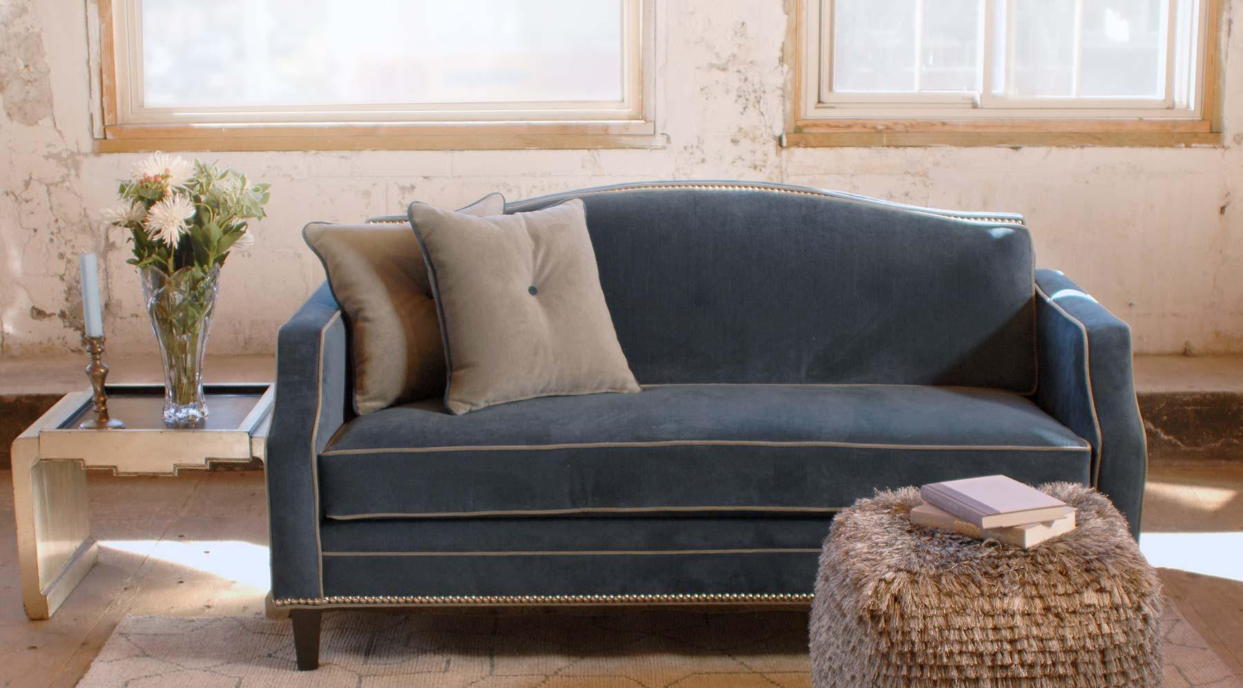 Harrington Galleries - Winter inspired decor - blue sofa