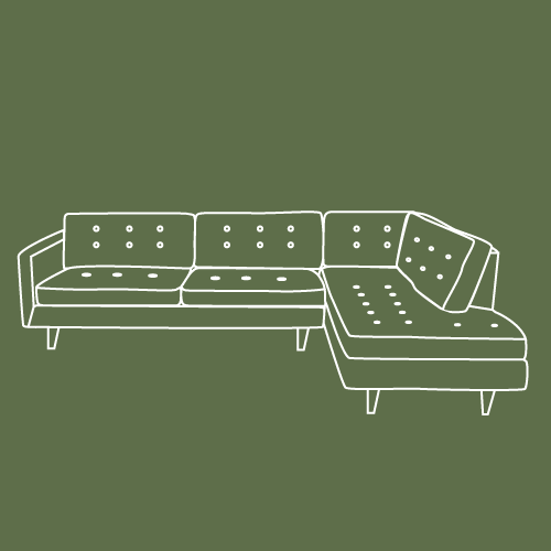 green and white illustration on an l shaped sofa