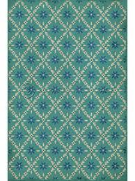 teal patterned rug