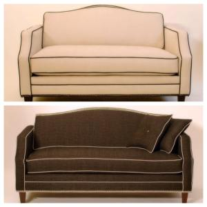 two sofas with contrasting trims and metal embellishments