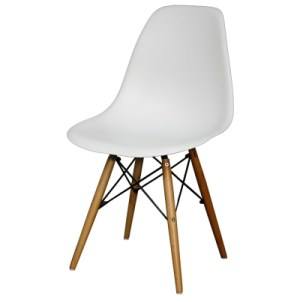 white curved chair with wooden base