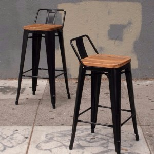 two bar stools with a wooden seat and metal base
