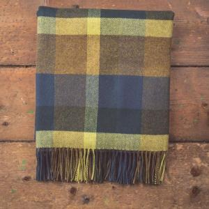 blue brown and yellow checkered blanket with tassels