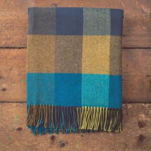 blue and yellow checkered blanket with tassels