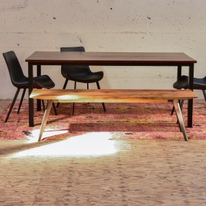long wood and steel dining table, bench and chairs