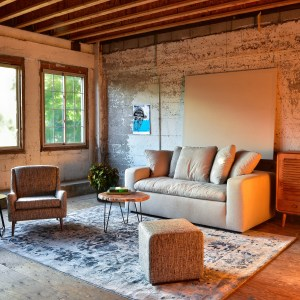 Sofa in living room with decor