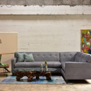 Grey sofa in living room with decor