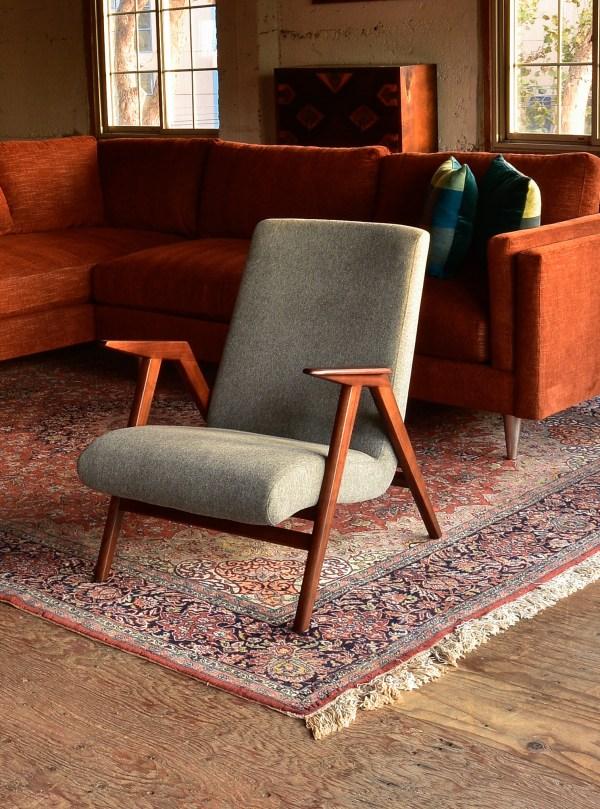 Grey mid century modern style chair