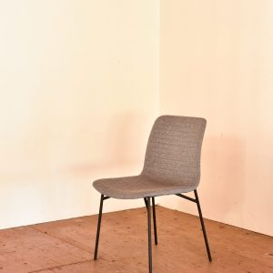 Grey ribbed mid century modern style chair