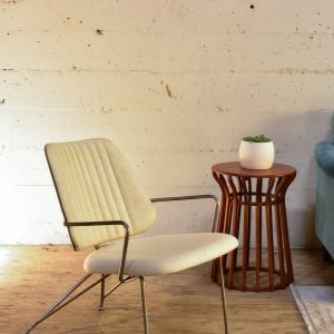 white ribbed mid century modern chair
