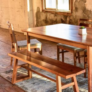 Dining chairs bench and table