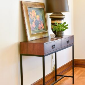 Wooden console table in living room