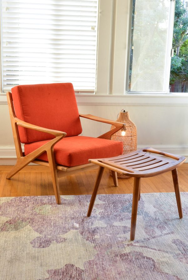 mid century modern style accent chair and stool