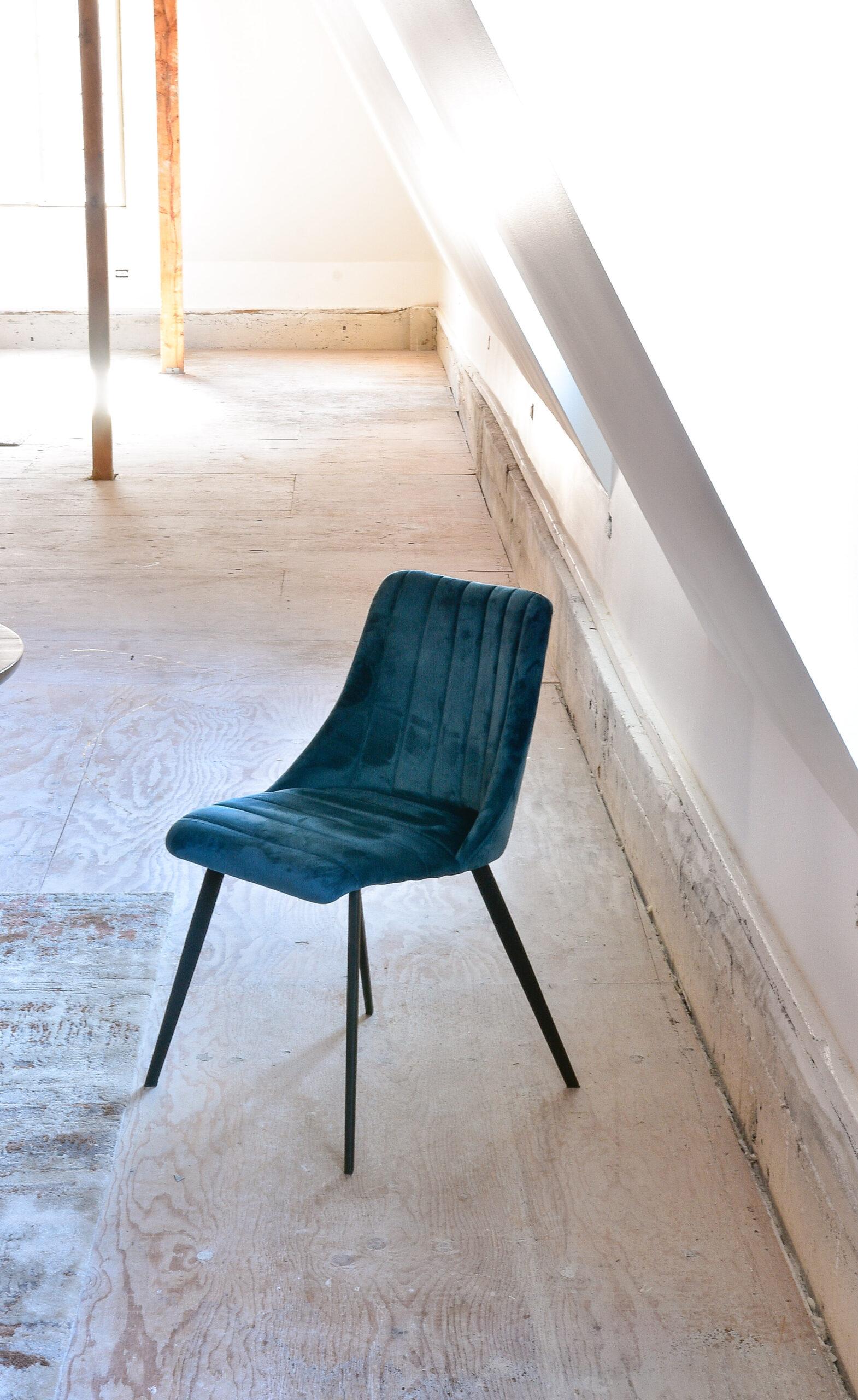 Blue velvet mid century dining chair
