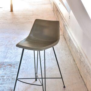 Tan mid century modern style leather stool