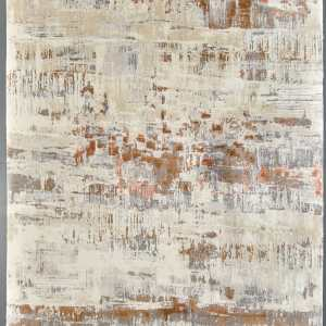 Brown and white woven patterned rug