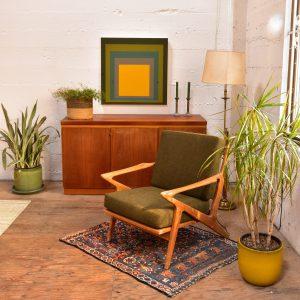Teak Accent Chair with Green Cushion
