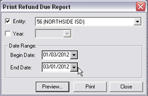 Collections Reports, Refund Due Report, 8109x