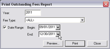 Fee Processing, Report, Outstanding Fees dialog, 01