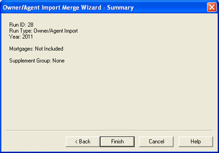 Owner Agent Import, Owner Agent Import Merge dialog Summary, 001