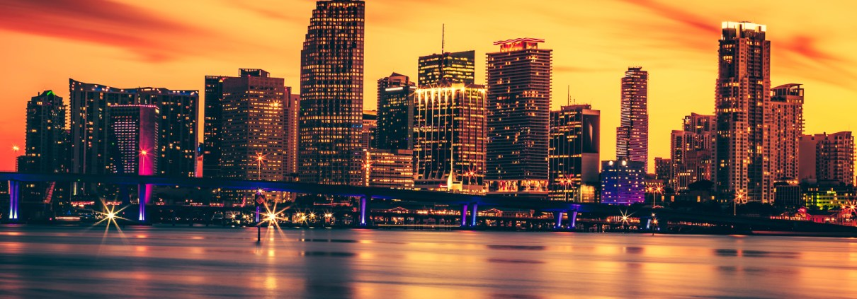 CIty of Miami at sunset, USA