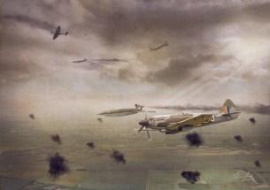Mk 14 Spitfire MV268 getting ready to flip a V1 flying bomb onto its back.