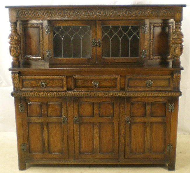 retro metal kitchen cabinets upgrade antique style carved oak court cupboard by old charm - sold