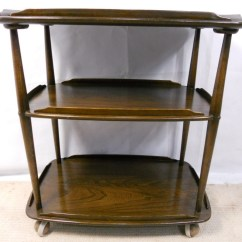 Kitchen Settee Table With Built In Bench Dark Elm Three Tier Tea Trolley By Ercol - Sold