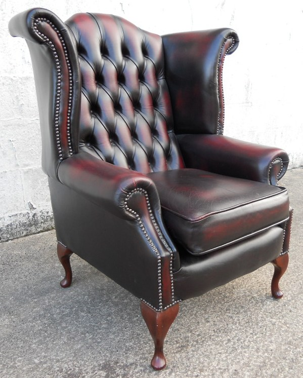 Georgian Style Wingback Leather Library Armchair  SOLD