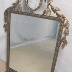 Antique White Kitchen Cabinets Appliance Covers Large Decorative Silver Gilt Wall Mirror