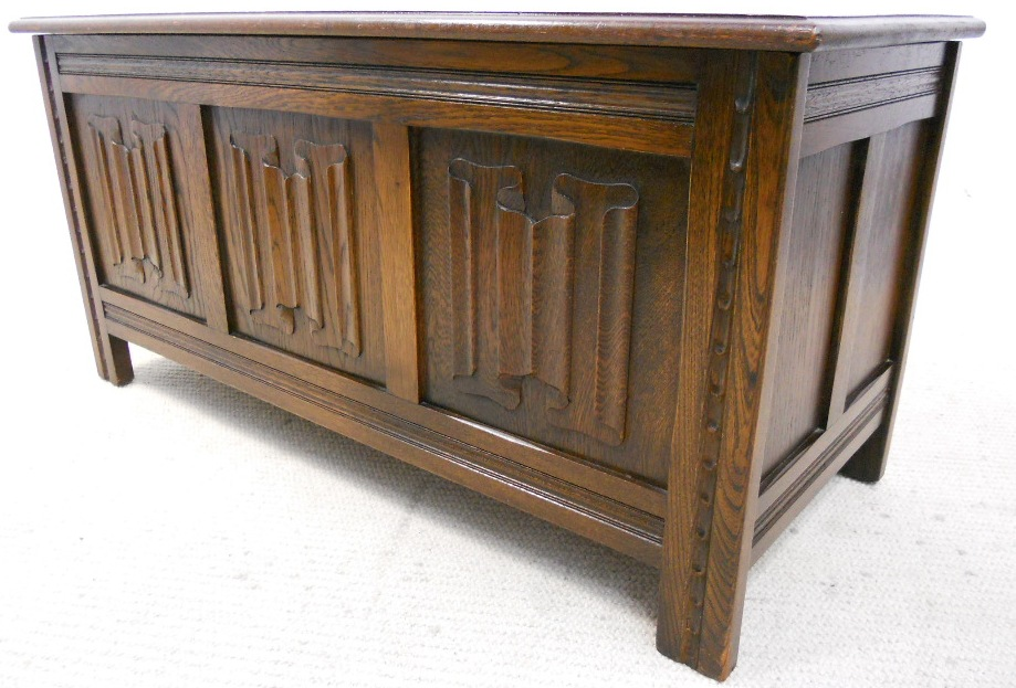antique oak dining chairs folding patio canadian tire blanket chest by jaycee - sold