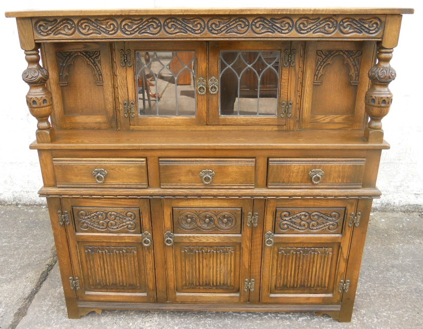 retro style sofa uk back of facing entrance old charm oak antique jacobean court cupboard - sold