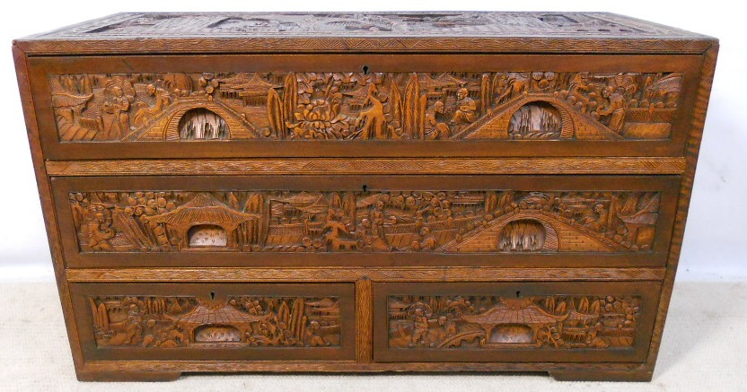 Oriental Chinese Carved Camphor Wood Chest of Drawers  SOLD