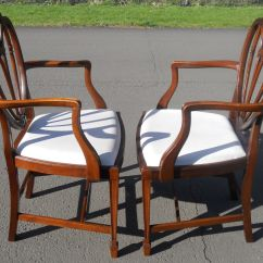 Pp Chair Company Ethan Allen Chairs Pair Hepplewhite Style Mahogany Carver Armchairs