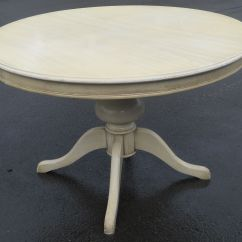 Painted Round Kitchen Table Window Ideas Treatments Pedestal Dining