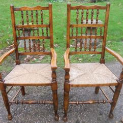 Rush Seat Chairs Chair Arm Covers With Pockets Set Of Eight Beech And Elm Spindleback Dining